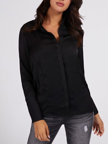 Camicia Guess da donna nera in raso