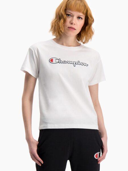 t-shirt girocollo bianco logo