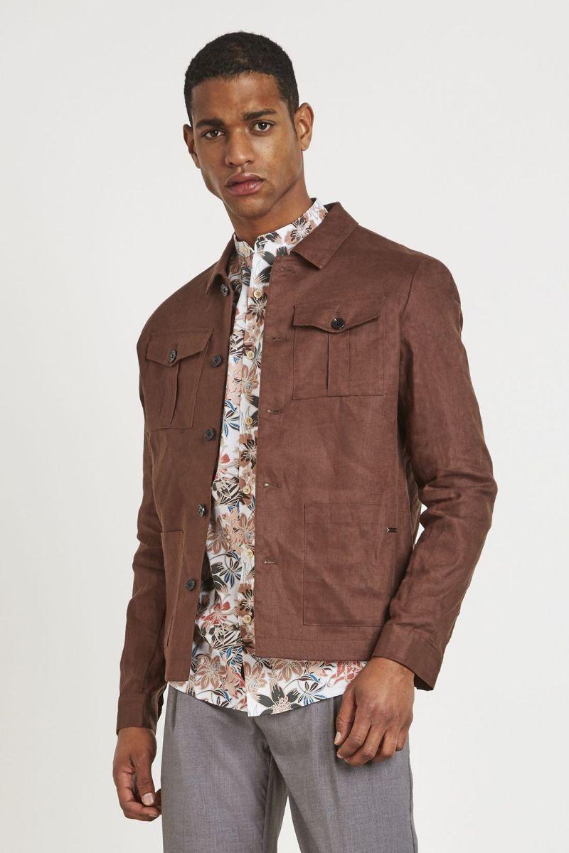 giacca in lino mark up uomo marrone