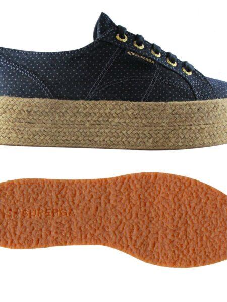 scarpe superga zeppa corda in jeans