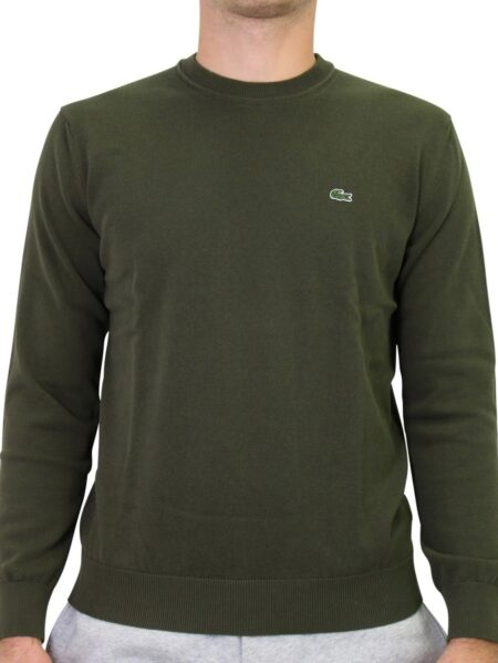 maglia lacoste girocollo cotone verde