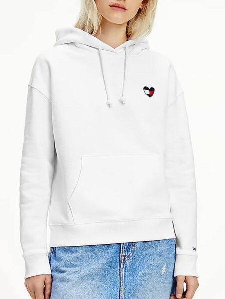 felpa tommy jeans bianca cuore